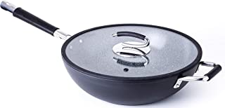 """Ceramic 13"""" Wok with Natural Nonstick Coating, Lid Included - By DaTerra Cucina"""