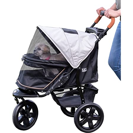 Pet Gear No-Zip Jogger Pet Stroller for Cats/Dogs, Zipperless Entry, Airless Tires, Easy One-Hand Fold, Cup Holder + Storage Basket