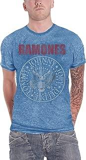 Ramones T Shirt Presidential Seal Hey Ho Logo Official Mens Blue Burnout