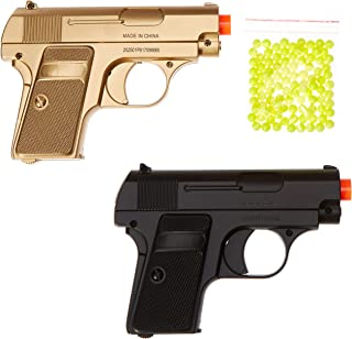 BBTac Airsoft Spy Handgun - Twin Pack Pocket Pistol Gun with Storage Case (Gold & Black)