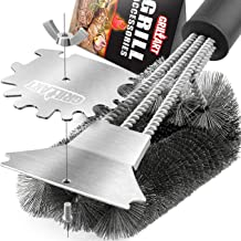 GRILLART Grill Brush and Scraper. Best BBQ Grill Cleaner Brush 3D Scrubber - Stainless Steel Wire Bristle Barbecue Cleaning Tool. Perfect Grill Accessories for Weber & All Gas/Charcoal Grilling Grates