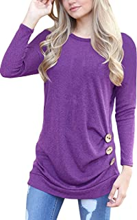 Women's Casual Long Sleeve Round Neck Loose Tunic T Shirt Blouse Tops