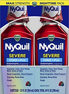 Vicks NyQuil SEVERE, Nighttime Relief of Cough, Cold & Flu Relief, Sore Throat, Fever, & Congestion Relief, Berry Flavor, ...