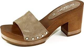 Silfer Shoes - Zoccolo in Vero Legno e Pelle Colore Nero