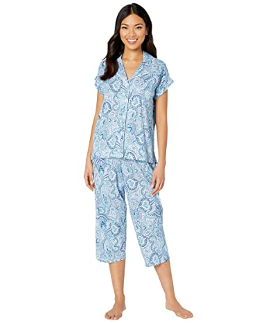 LAUREN Ralph Lauren Cotton Rayon Jersey Knit Short Sleeve Notch Collar Dolman Capri Pants Pajama Set (Blue Print) Women