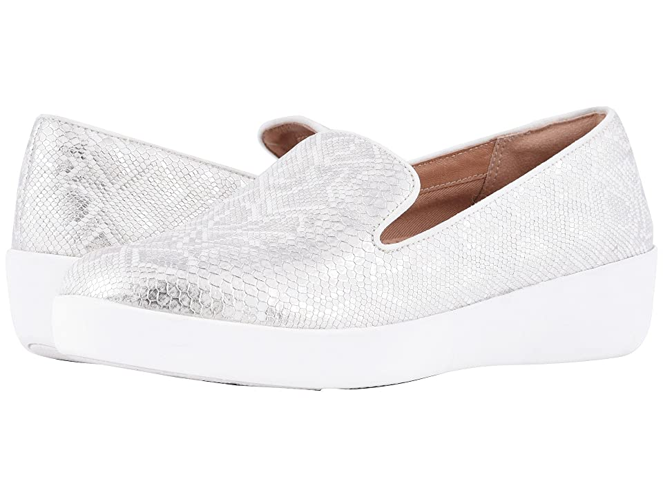 88680558b FitFlop Audrey Python Print Smoking Slippers (Urban White) Women s Shoes