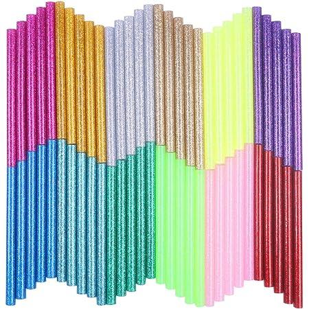 KIZUXI ホットメルト接着スティック 12色 ホットグルーガンスティック カラー接着剤 DIY クラフトスティックツールのため グルースティック 高温ボンドガン用 マルチカラー 強力粘着 ピタガン替え用 接着剤 20-30wミニグルーガン 7mm×100mm 60本入