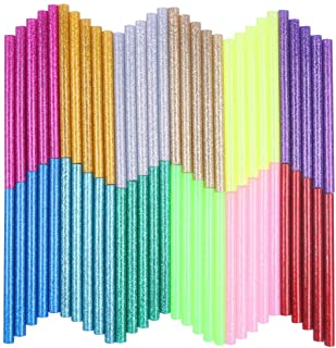 URlighting Hot Glue Gun Sticks(60 Pcs) 12 Color Glitter Hot Adhesive Melt Glue Gun Sticks Mini Size 0.27 inch by 3.93 inch...