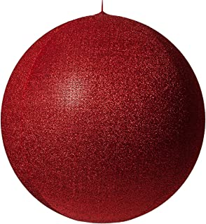 Inflatable Decorative Ornament, Yard Christmas Decoration, Christmas Decoration for Businesses, Huge Christmas Ball Decoration Christmas Home (28 Inch, Red Metallic Mesh)