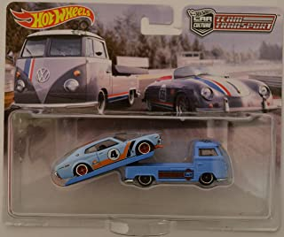 Nissan Laurel 2000 SGX & VW Transporter T1 Pickup Blue Custom-Made Hot Wheels with Real Rider Rubber Wheels Team Transport Series 1:64 Scale Collectible Die Cast Model Car