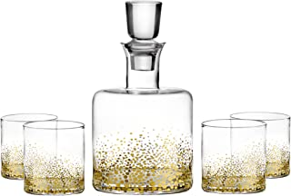 Fitz and Floyd Luster 5 Piece Whiskey Set, Gold