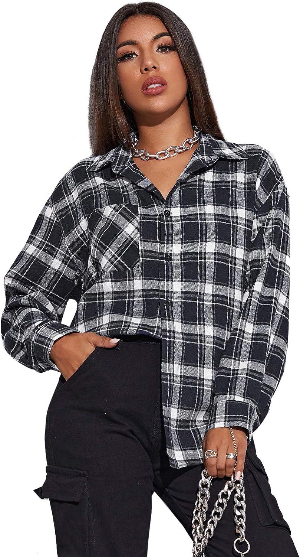 SweatyRocks Women's Long Sleeve Collar Plaid Long Button Down Shirt Blouse Tops Navy Plaid Large