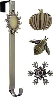 Adjustable Length Wreath Hanger with Interchangeable Icons (Oil Rubbed Bronze-Sun/Snowflake/Bee/Pumpkin)
