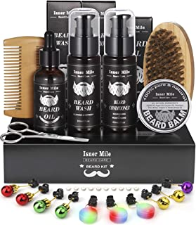 13 in 1 Beard Care Grooming Kit with Shampoo Wash, Conditioner, Oil, Balm Softener, Comb, Brush, Scissors, Trimming Template, Beard Lights Ornaments, Christmas Gifts for Men Him Boyfriend Dad