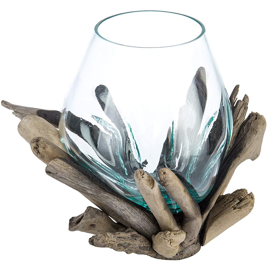 MyGift Handcrafted Molten Glass Terrarium Bowl with Natural Driftwood Base
