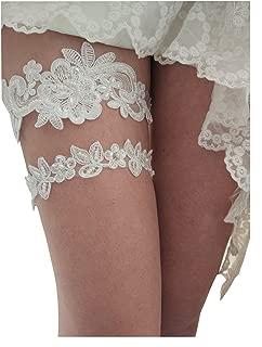 Sequins vintage wedding garter betls set with pearls S05 (Ivory)