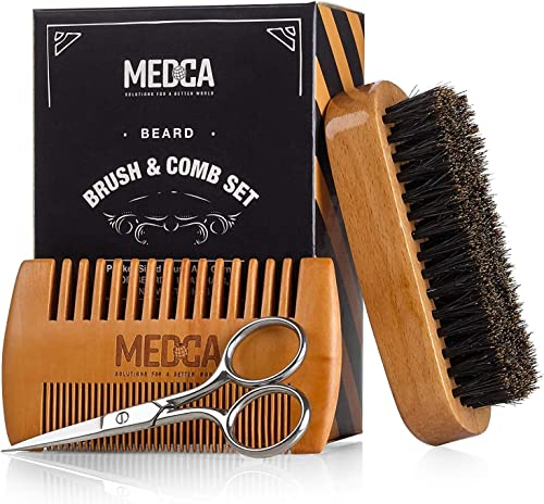Wooden Beard and Comb Set for Men - Perfect for Beards Head Hair and Mustaches Men's Grooming Kit for Styling, Applyi...