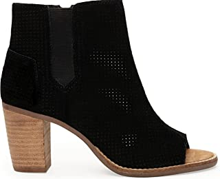 Majorca Peep Toe Booties Black Suede Perforated 10004907 Womens 5.5
