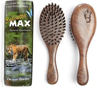 100% Pure Wild Boar Bristle Hair Brush, Calcutta Max for Thick or Long Hair, Gentle, Extra Stiff Natural Bristles, Hand Finished Indian Rosewood Handle, Tufted in USA, by Desert Breeze Distributing
