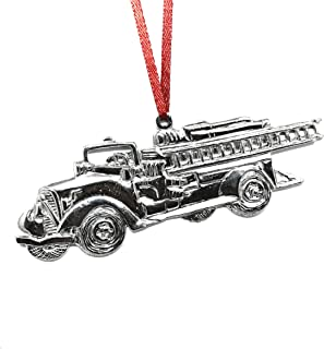 529 Fire Truck Engine Firefighter Chef Ornament Pewter