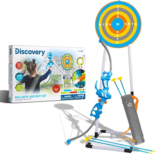 2021 Discovery popular Kids Bullseye Outdoor Archery Set with LED Target outlet sale Light-Up Toy Night/Day Activity Includes 4 Arrows, Quiver with Strap, 1 Bow for Ages 6+ and Older online sale