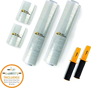 5 Inch and 15 Inch Stretch Wrap Films with Handles (2 of Each Size) Industrial Clear Plastic Stretch Wrap with Handles - Shrink Wrap for Moving and Pallet Wrapping - 1000 Feet Long (4 Pack)