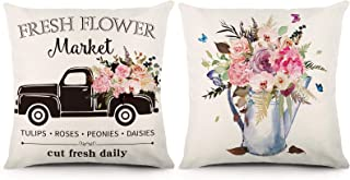 YGEOMER Farmhouse Throw Pillow Covers 18x18 Inches Set of 2 Spring Pillow Covers Linen Cushion Case for Spring Farmhouse H...