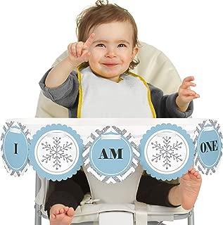 Big Dot of Happiness Onederland 1st Birthday - I Am One - First Winter Wonderland Birthday High Chair Banner
