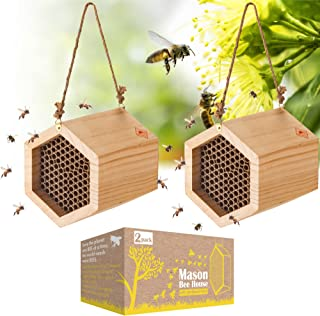 Mason Bee House 2 Pack, Outdoor Wooden Bee Houses with Cardboard Nesting Tubes, Wood Bee Hives for Outdoor Garden Decor wi...