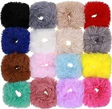 16 Pieces Fur Hair Scrunchies Rabbit Furry Hair Ties Pom Elastic Hair Bobbles Fluffy Ponytail Holder Pompom Ball Scrunchie Hair Band for Women Girls Hair Accessories(Color Set 2)