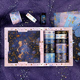 Doraking DIY The Little Prince 10Rolls Foil Gold Decorative Purple Universe Stars Washi Masking Tapes Stickers Set for Scr...