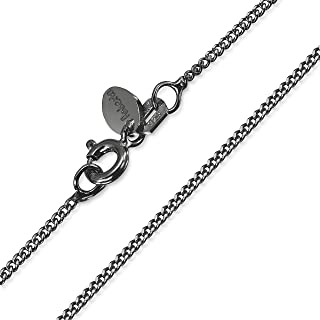 Amberta - Royal Black Collection - 925 Sterling Silver - 1.3 mm Curb Chain Necklace - Various Lengths
