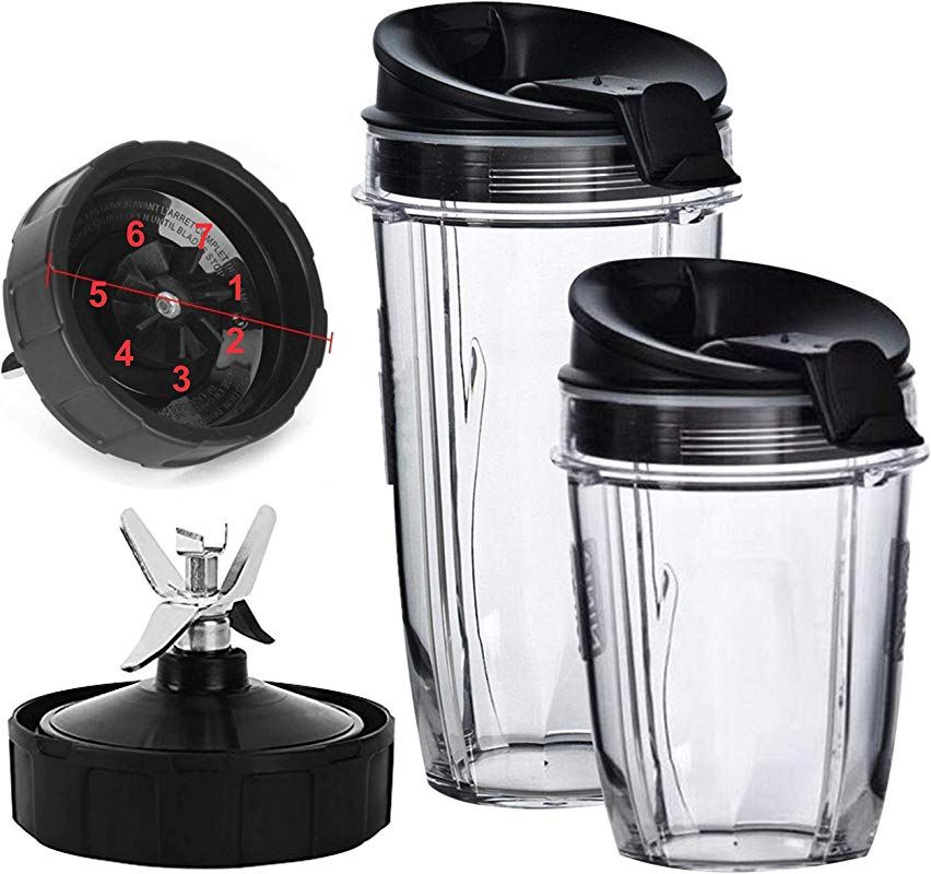 Nutri Ninja Blender Cups And Blade 7 FINS ONLY Set 5 Piece Replacement Parts Accessories For Nutri Ninja Auto IQ BL482 BL642 NN102 BL682 BL2013 Blenders