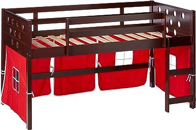 DONCO KIDS Circles Low Loft Bed, Twin, Dark Cappuccino
