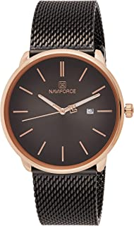 Naviforce Men's Black Dial Stainless Steel Mesh Analogue Classic Watch - NF3012G-RGB