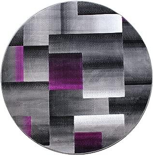 Masada Rugs, Modern Contemporary Round Area Rug, Purple Grey Black (5 Feet X 5 Feet) Round