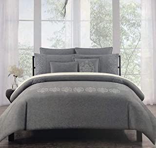 Tahari Home Maison Bedding Embroidered Silver Metallic Thread Medallions on Charcoal Gray Full/Queen Size Luxury 3 Piece Duvet Comforter Cover Shams Set - Royal Embroidery