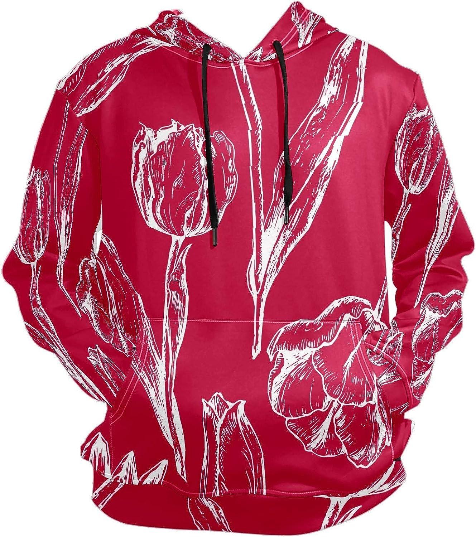 Men's Sport Hoodie Red Tulip Flower Abstract Art Big and Tall Hoodies for Men Women Oversized Hooded Sweatshirt Hip Hop Pullover Hoodie Midweight Hood for Boys Girls