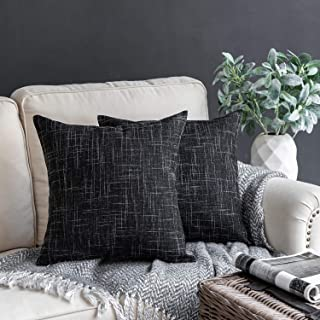 "Phantoscope Set of 2 Soft Textured Lined Linen Burlap Throw Pillow Cushion Cover Black 18"" x 18"" 45 x 45 cm"