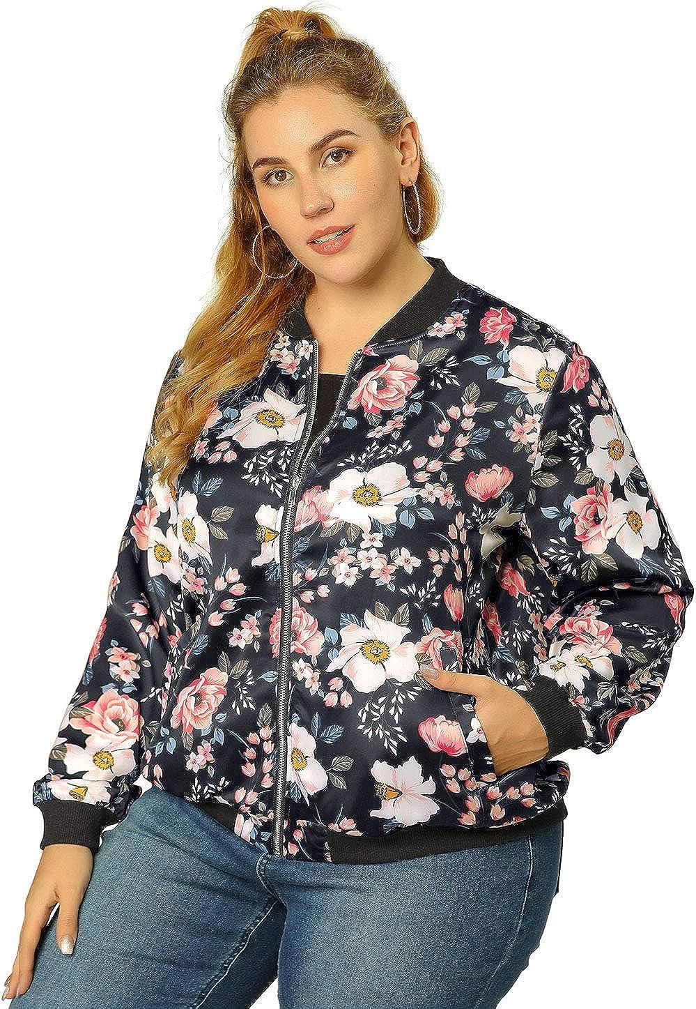 Agnes Orinda Women's Plus Size Bomber Jacket Zipper Long Sleeves Floral Jackets