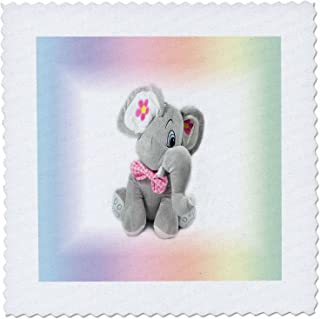 3dRose Print of Gray and Pink Baby Elephant On Gradient-Quilt Square, 6 by 6-inch (qs_218967_2)