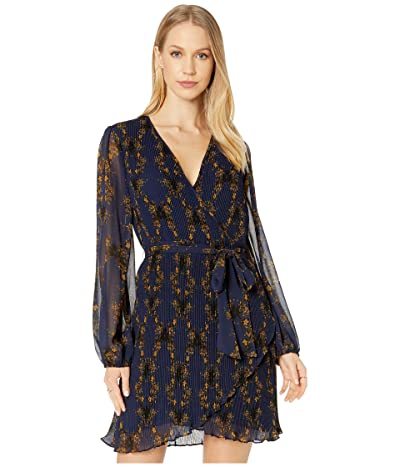 1.STATE Long Sleeve Wrap Front Pleated Floral Dress (Blue Night) Women