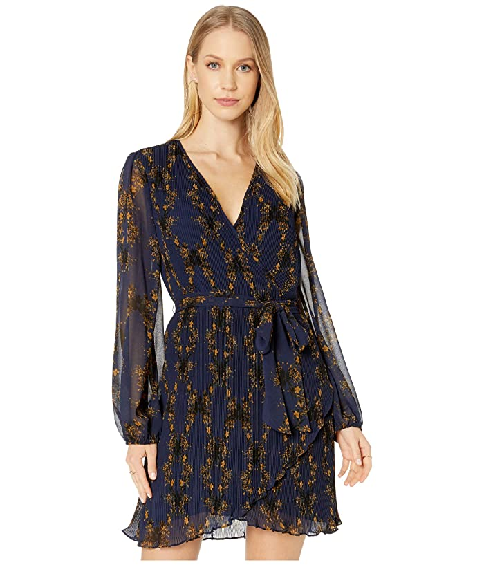 1.STATE  Long Sleeve Wrap Front Pleated Floral Dress (Blue Night) Womens Dress