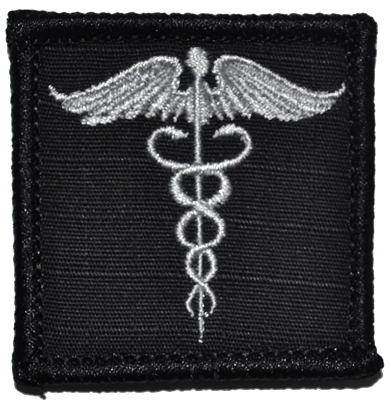 Caduceus, Staff of Life. Medical Symbol - 2x2 Morale Patch (Black)