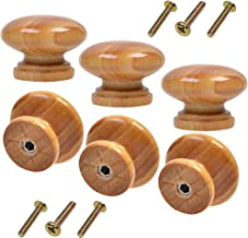 COSMOS 6 PCS Round Mushroom Shape Wooden Cabinet Knobs Drawer Pulls