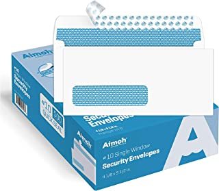 500#10 Single Left Window SELF Seal Security Envelopes - Super Strong Quick-Seal Self Sealing Closure, Security Tinted, Si...