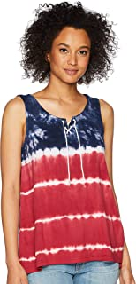 Chaps Womens Tie-Dye Lace-up Top