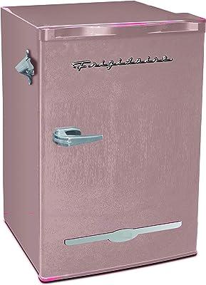Frigidaire EFR376-CORAL Retro Bar Fridge Refrigerator with Side Bottle Opener, 3.2 cu. Ft, Coral