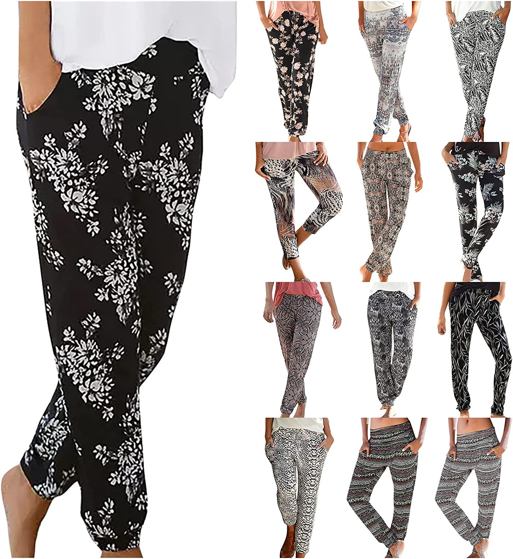 COMVALUE Summer Pants for Women,Women High Waist Printing Easy Trousers Long Pants Boho Beach Pockets Pants