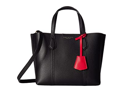 Tory Burch Perry Small Triple-Compartment Tote (Black) Handbags